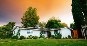 Home Grass Orange Sky